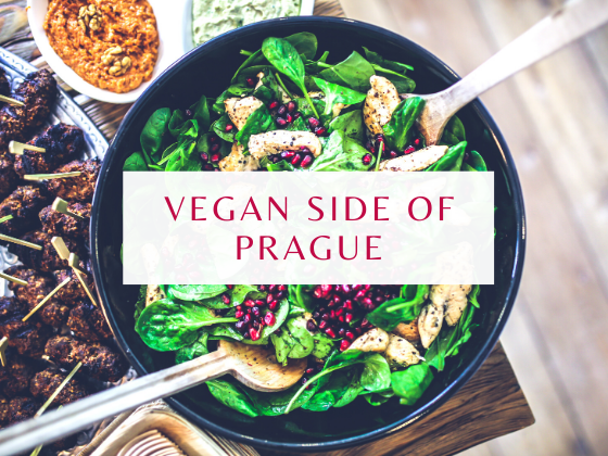 """A bowl of vegan dish from Prague, with text on it """"Vegan side of Prague"""""""