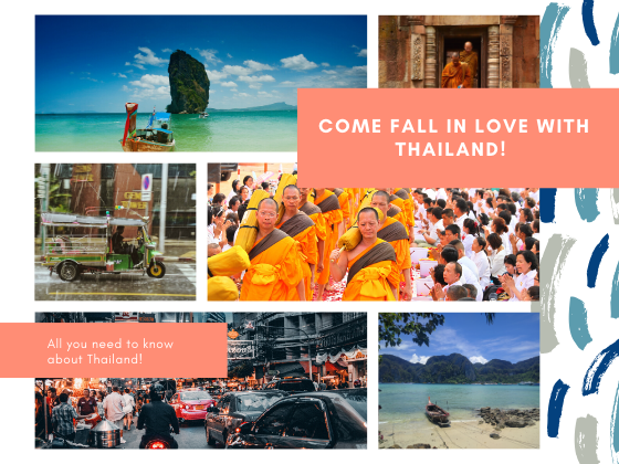 Thailand travel guide poster, with a collage of krabi, monks in a pagoda, night life in bangkok
